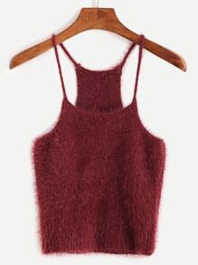 Burgundy Fuzzy Crop Cami Top