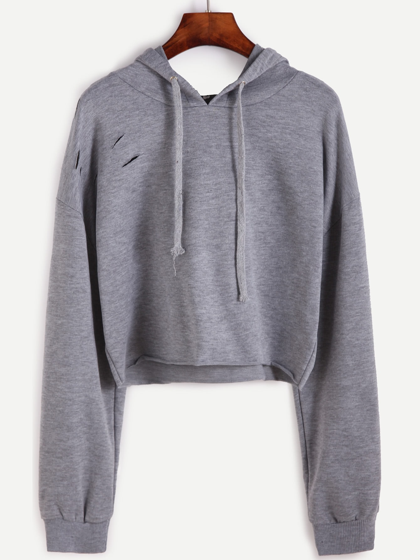 Drop Shoulder Ripped Drawstring Hooded Crop Sweatshirt