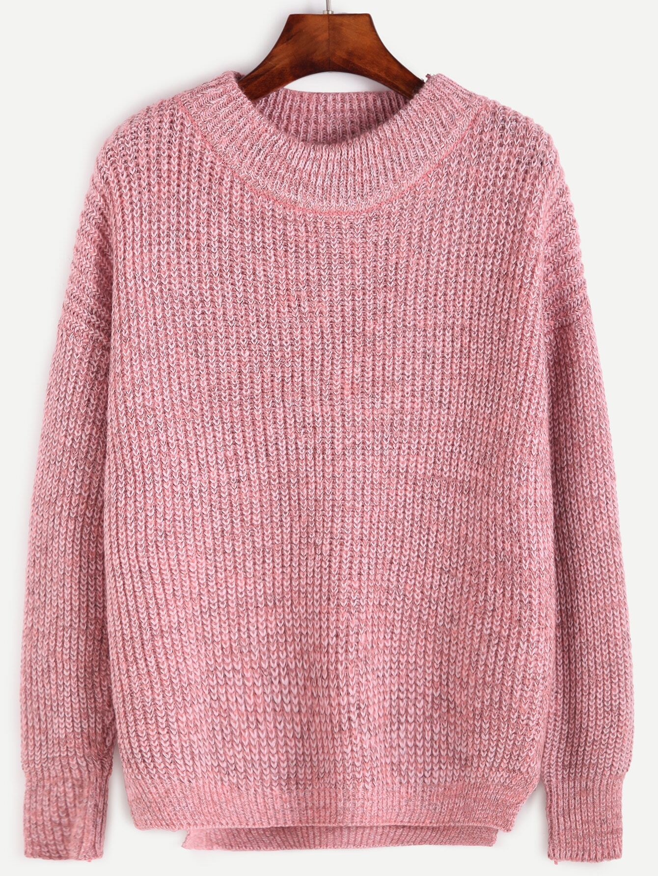 Pink Crew Neck Drop Shoulder Dip Hem Sweater RKNI160921101
