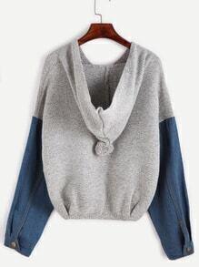 Jersey hombro drapeado con capucha con pompón