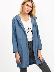 Blue Drop Shoulder Hooded Pockets Denim Coat