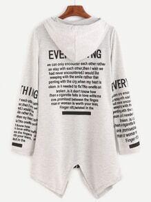 Light Grey Letters Print Drawstring Hooded Coat