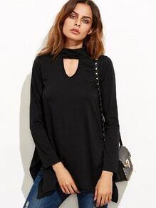 Camiseta con abertura asimétrica estilo swing - negro