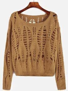 Yellow Drop Shoulder Open Knit Sweater