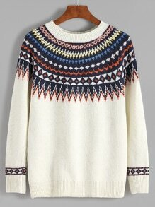 Beige Geometric Print Sweater