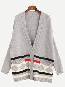 Grey Geometric Print Pockets Sweater Coat