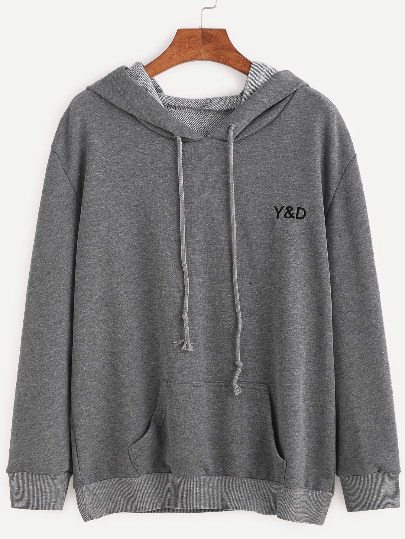 grey letter embroidered hooded sweatshirt With embroidered letter sweatshirts