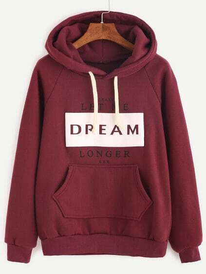 Burgundy Letter Print Raglan Sleeve Hooded Sweatshirt