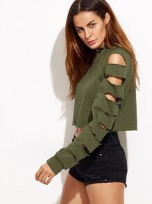 Army Green Ladder Cut Out Sleeve Raw Hem Sweatshirt