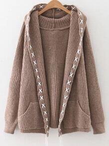 Cárdigan con capucha con ribete de cordón - kaki
