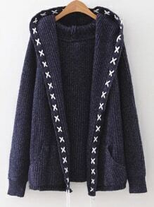 Navy Lace Up Trim Hooded Cardigan With Pockets
