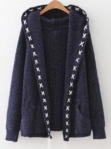 Cárdigan con capucha con ribete de cordón - azul marino