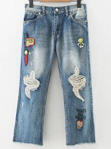 Blue Cartoon Embroidery Ripped Denim Pants