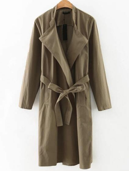 Army Green Shawl Collar Trench Coat With Belt