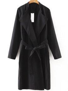 Black Shawl Collar Trench Coat With Belt