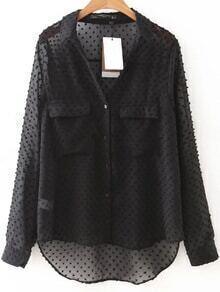 Blusa asimétrica de malla con bolsillo - negro