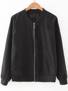 Black Zipper Up Bomber Jacket