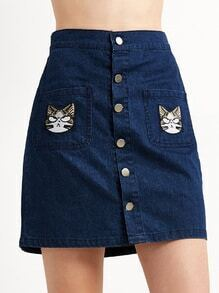 Jupe en denim broderie motif chat avec bouton - bleu