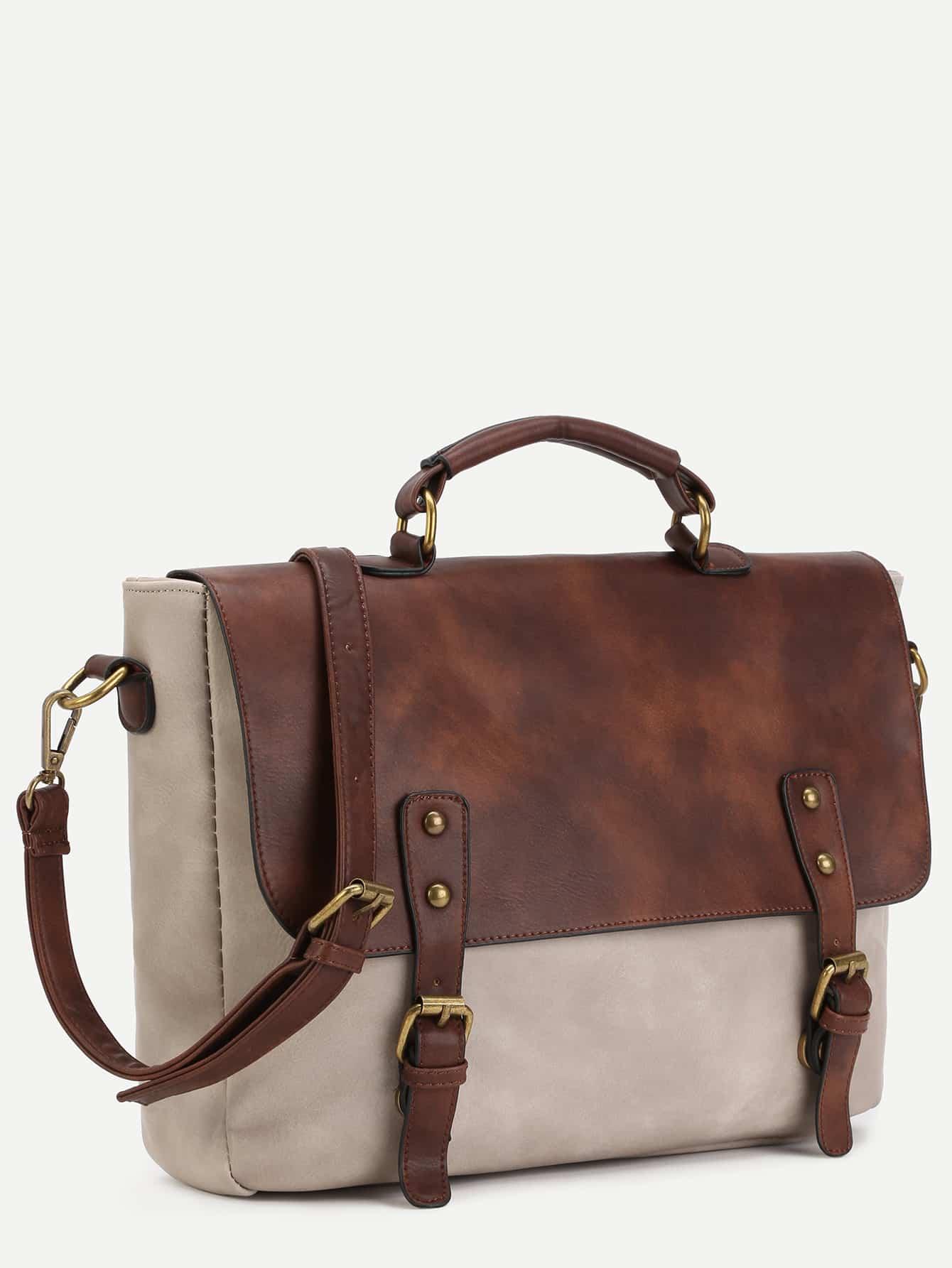 Bolsa Estilo Cambridge Satchel : Bolso satchel de pu con hebillas spanish romwe