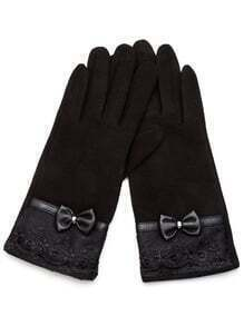 Black Lace Trim Bow Gloves