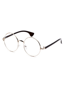 Silver Frame Black Arm Clear Lens Glasses