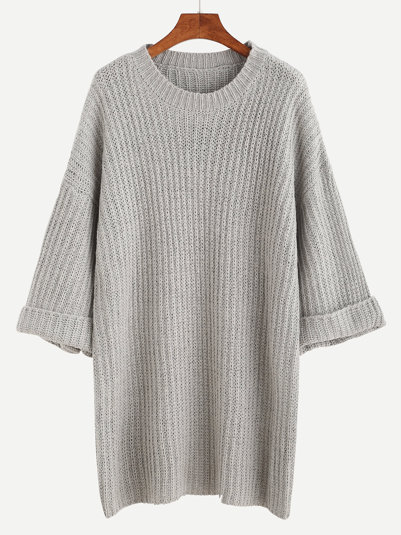 Grey Dropped Shoulder Seam Cuffed Sweater Dress RDRE160922102
