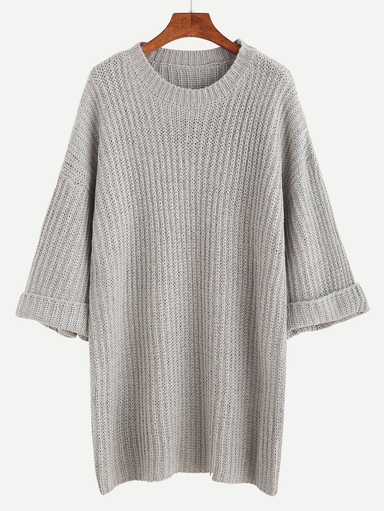 Grey Dropped Shoulder Seam Cuffed Sweater Dress