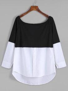 Black White Contrast Scoop Neck Dip Hem T-shirt