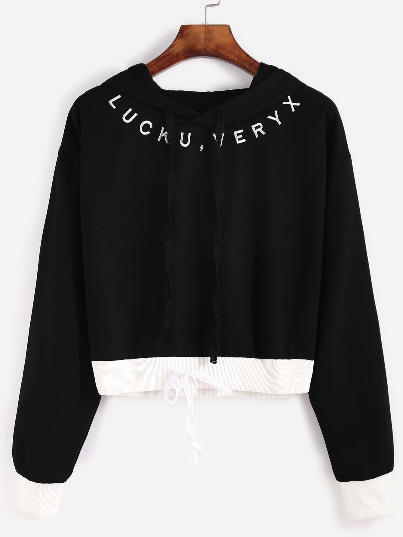 Contrast Trim Letter Embroidery Drawstring Hooded Crop Sweatshirt
