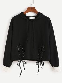 Contrast Cuff Lace Up Drawstring Hooded Crop Sweatshirt