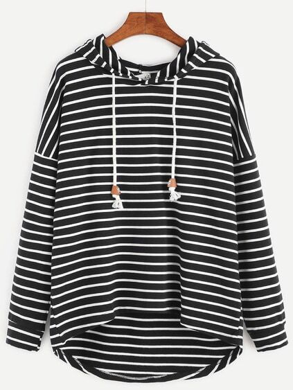 Striped Drop Shoulder Dip Hem Drawstring Hooded Sweatshirt