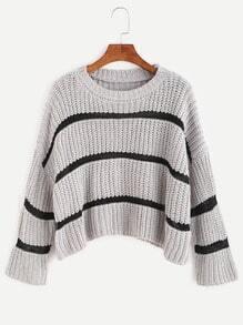 Heather Grey Striped Dropped Shoulder Seam Crop Sweater