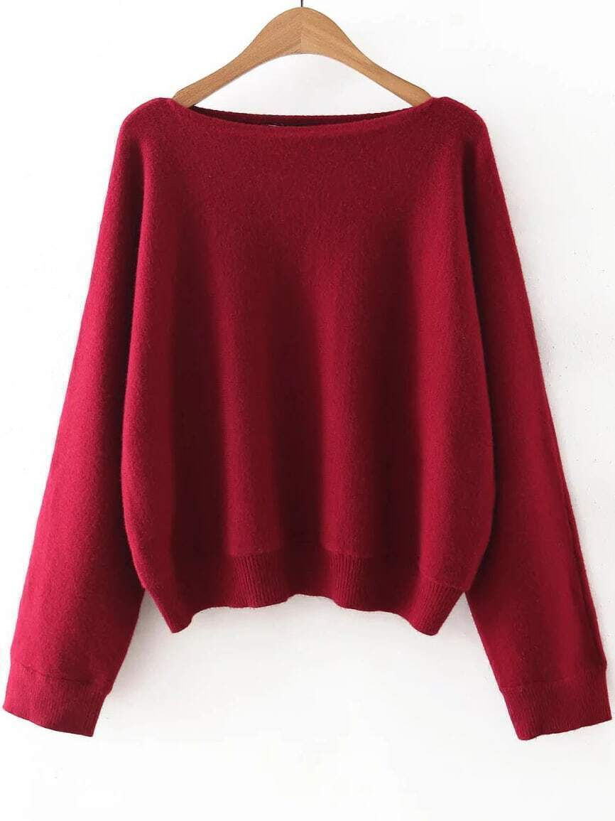 Red Boat Neck Ribbed Trim Sweater