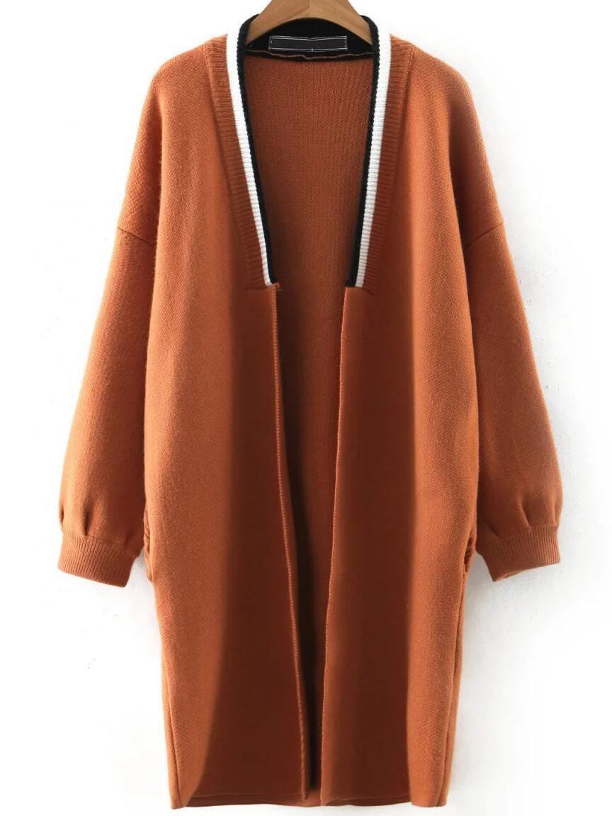 Khaki Contrast Trim Drop Shoulder Sweater Coat sweater160922205