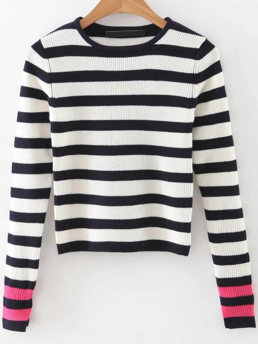 Black Striped Contrast Sleeve Crop Knitwear sweater160922217