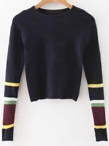 Jersey corto con manga de color combinado - azul marino