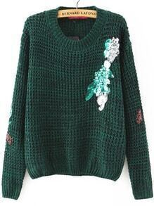 Green Sequin Detail Round Neck Sweater