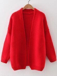 Red Open Front Drop Shoulder Cardigan