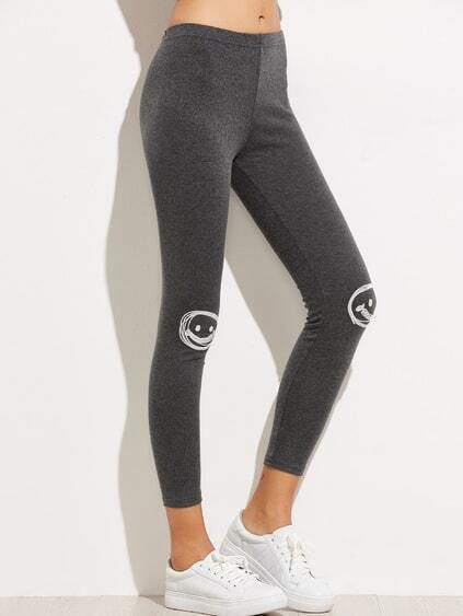 Dark Grey Applique Trim Leggings