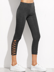 Dark Grey Lattice Hem Leggings