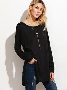 T-shirt long asymétrique - noir