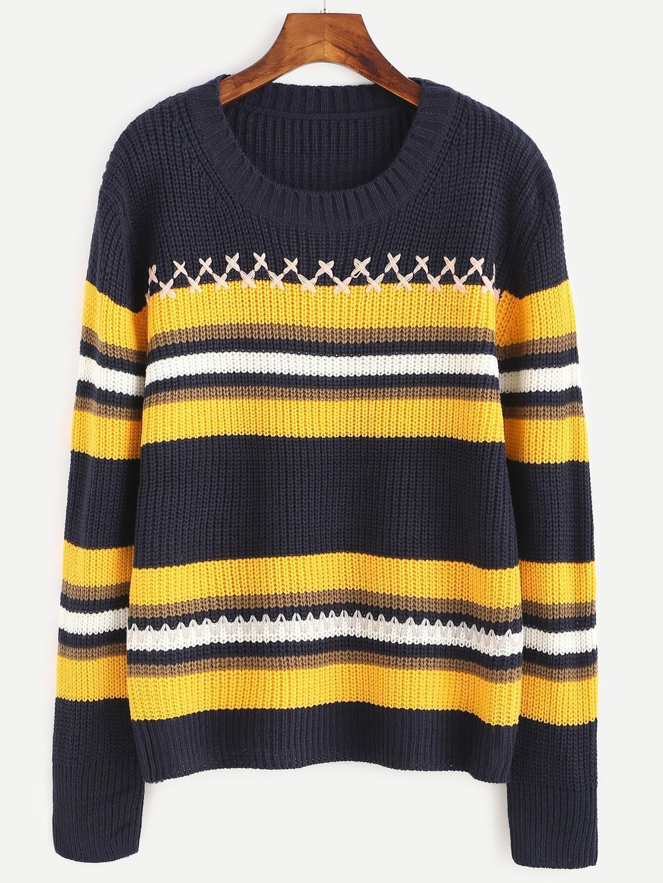 Navy Striped Ribbed Sweater sweater160922103