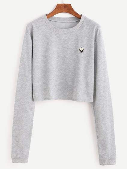 Grey Alien Embroidered Patch Crop Sweatshirt