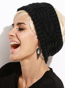 Black Cable Knit Open Top Hat
