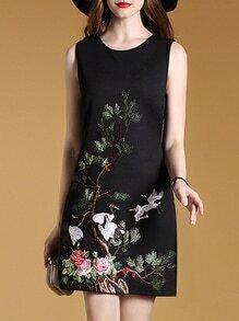 Black Sleeveless Crane Shift Dress