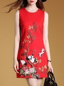 Red Sleeveless Crane Shift Dress