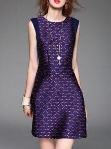 Purple Crew Neck Jacquard A-Line Dress