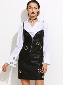 Black Faux Leather Metal Eyelet Zip Front Slip Dress