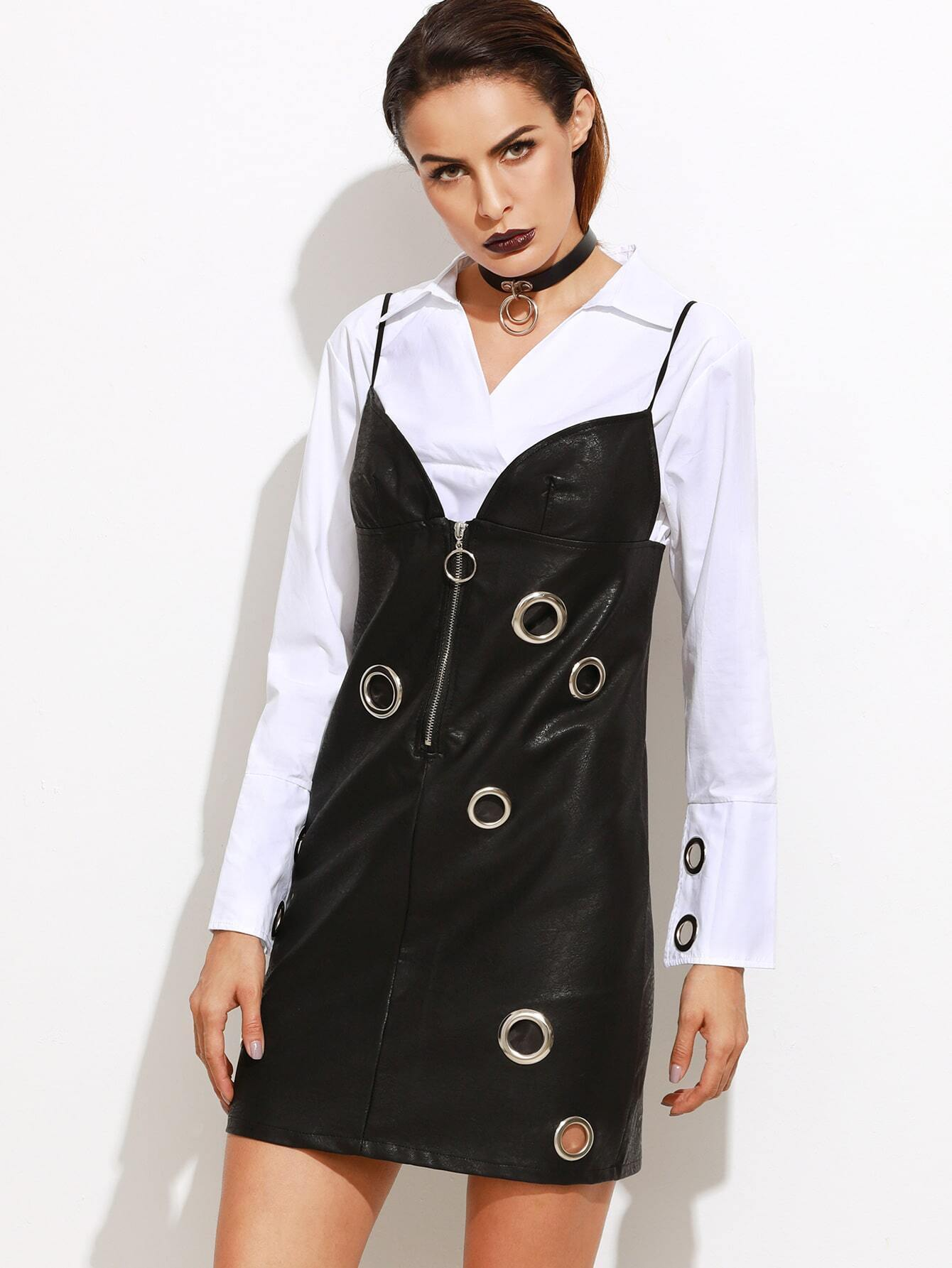 robe en similicuir en illet avec zip noir french romwe. Black Bedroom Furniture Sets. Home Design Ideas