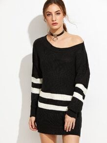 Black Striped Scoop Neck Drop Shoulder Sweater Dress